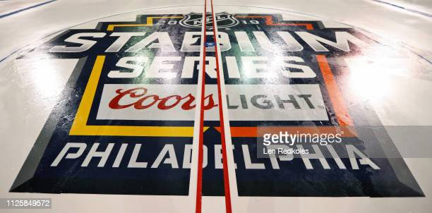 A view of the center ice logo for the 2019 Coors Light NHL Stadium Series between the Philadelphia Flyers and Pittsburgh Penguins on February 18 2019...