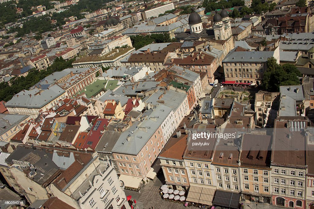 Vista do Centro de Lviv quadrado : Foto de stock