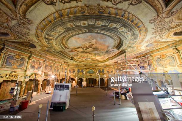 A view of the central ceiling mural Apollo and the 9 Muses after the completion of conservation and restoration work at the Margravial Opera House in...