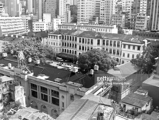 View of the Central Police Station on Hollywood Road. 16OCT92
