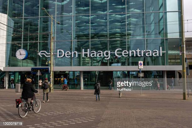 View of the Central Station in The Hague Netherlands on February 20 2020 The Hague is a city on the North Sea coast of the Netherlands Binnenhof is...