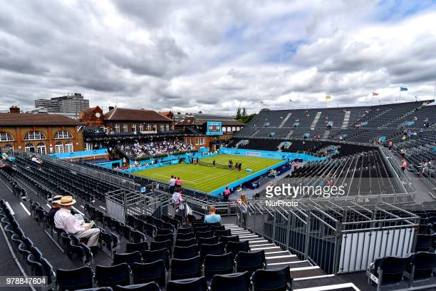 View of the Centre Court and training courts on day two of Fever Tree Championships at Queen's Club London on June 19 2018