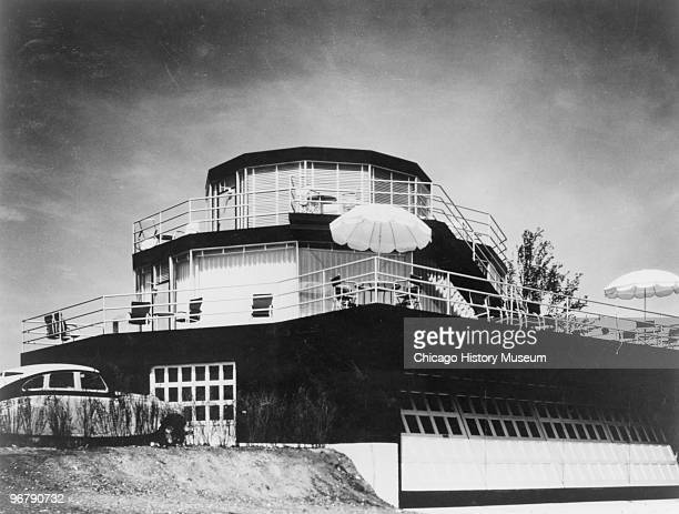 View of the 'Century Homes House of Tomorrow' at the Century of Progress International Exposition Chicago Illinois 1933 The home consists of several...