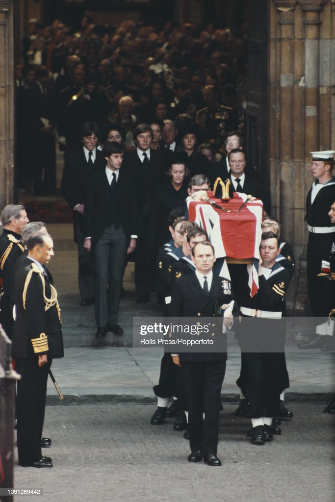 View of the ceremonial funeral of Lord Louis Mountbatten ...