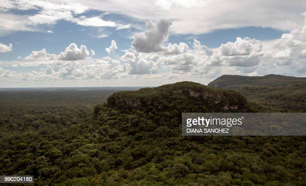 View of the Cerro Azul in the Serrania La Lindosa which had been declared Protected Archaeological Site of Colombia last May in the Amazonian jungle...