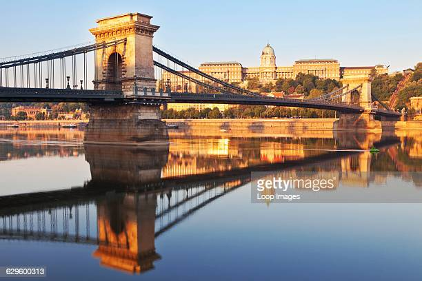 A view of the Chain Bridge and Buda Palace at dawn Budapest Hungary
