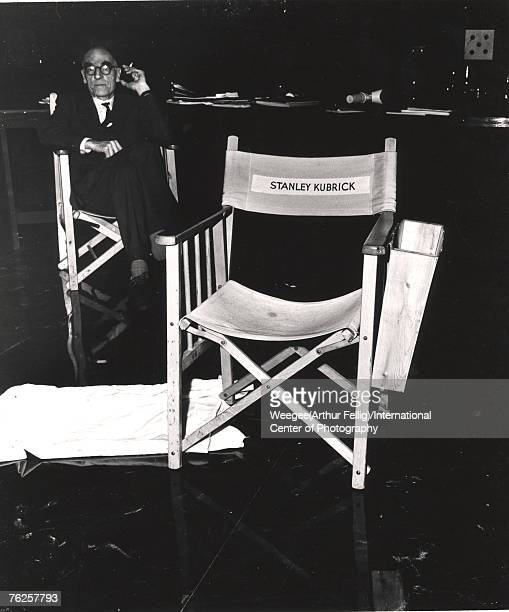 View of the chair belonging to American film director Stanley Kubrick on the set of his film 'Dr Strangelove Or How I Learned to Stop Worrying and...