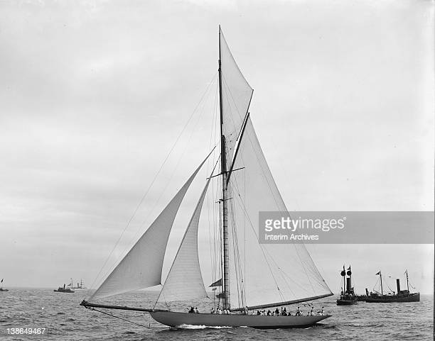 View of the challenger Shamrock I before the start of the race America's Cup 1899