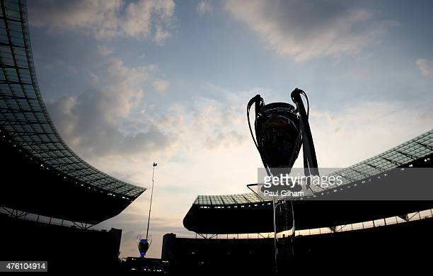View of the Champions League trophy prior to the UEFA Champions League Final between Juventus and FC Barcelona at Olympiastadion on June 6, 2015 in...
