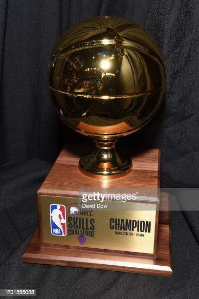 View of the Championship Trophy during the Taco Bell Skills Challenge as part of 2021 NBA All Star Weekend on March 7, 2021 at State Farm Arena in...