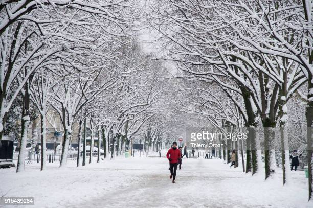 A view of the Champs de Mars as snow falls on February 7 2018 in Paris FranceAccording to the weather forecast it will snow heavily during the night...