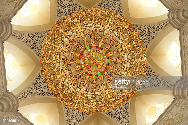 A view of the Chandelier inside of the Sheikh Zayed Grand Mosque located in the capital city and considered to be the key for worship in the United...