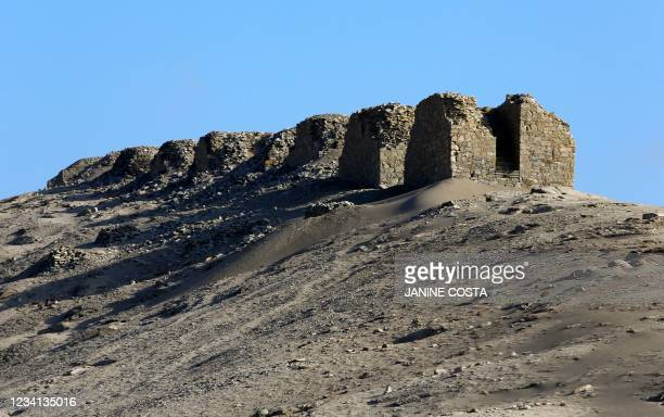 View of the Chankillo Solar Observatory near Casma, Peru, on July 22, 2021. - Chankillo, the oldest solar observatory in America from between 500 and...