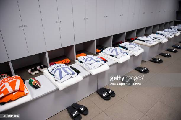 A view of the Chelsea FC dressing room ahead of the UEFA Champions League Round of 16 Second Leg match between FC Barcelona and Chelsea FC at Camp...