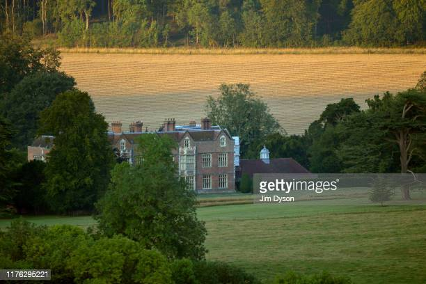 View of the Chequers Estate from Coombe Hill, Buckinghamshire at sunrise on August 26, 2019 in Ellesborough, England.