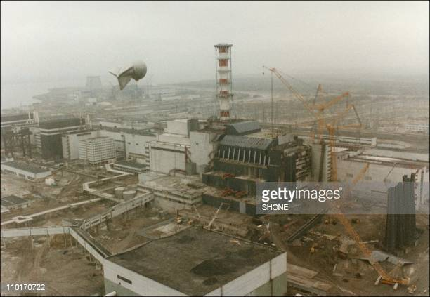 View of the Chernobyl Nuclear power after the explosion on April 26 1986 in ChernobylUkraine