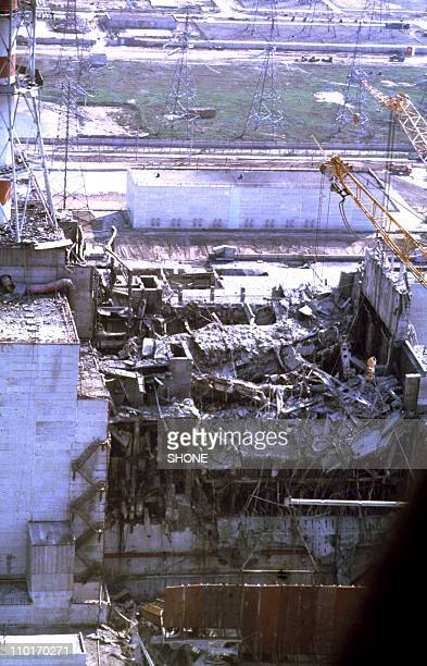 View of the Chernobyl Nuclear power plant three days after the explosion on April 29 1986 in ChernobylUkraine