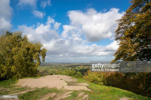 View of the Cheshire countryside from Alderley Edge, England