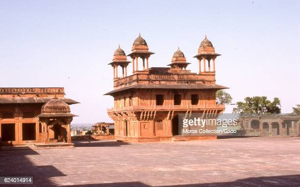 View of the chhatri-domed Diwan-i-Khas Hall of Private Audiences, on the rooftop courtyard of the royal enclave in the city of Fatehpur Sikri, Agra...