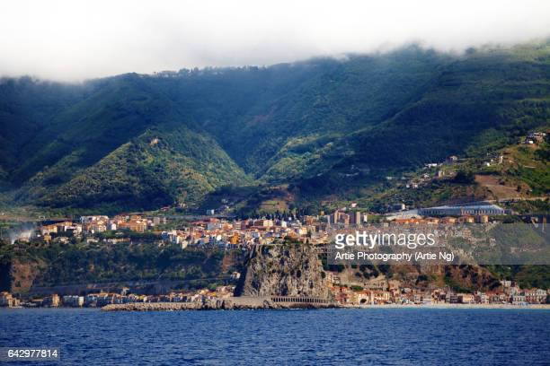 view of the chianalea and castle of scilla, calabria, italy - reggio calabria stock pictures, royalty-free photos & images