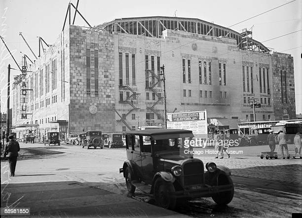 View of the Chicago Stadium located at 1800 West Madison Street in the Near West Side community area of Chicago Illinois viewed at an angle from...