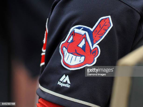 A view of the Chief Wahoo logo on the sleeve of shortstop Francisco Lindor of the Clevleand Indians during a game against the Cincinnati Reds on May...