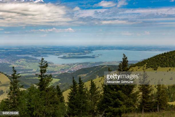 View of the Chiemsee seen from Staffelstein, Chiemgau, Bavaria, Germany