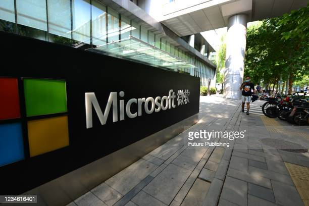 View of the China HQ office building of Microsoft in Beijing, China Tuesday, Aug. 10, 2021.