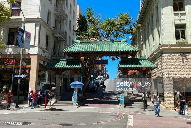 View of the Chinatown neighborhood of San Francisco, California, on July 31, 2020.
