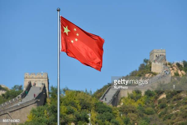 A view of the Chinese National Flag in Badaling the most visited section of the Great Wall of China On Wednesday 27 September 2017 in Badaling...