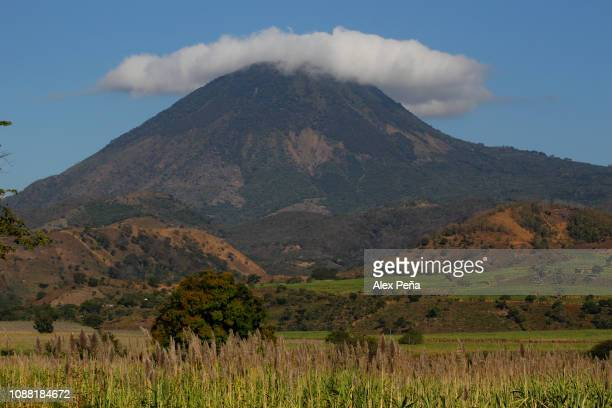 View of the Chingo volcano on the border with Guatemala during the sugar cane harvest December 29, 2018 in Chalchuapa, El Salvador. El Salvador is...