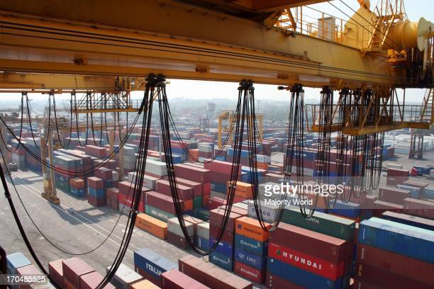 View of the Chittagong sea port from a gantry. Situated on the right bank of the Karnafuli river, about 9 nautical miles from the shoreline of the...