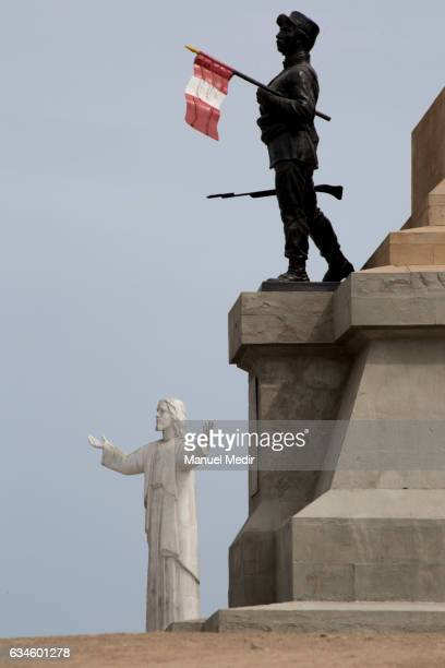 A view of the Christ of the Pacific a replica of Rio de Janeiro's Cristo Redentor donated by Odebrecht on February 10 2017 in Lima Peru After a...