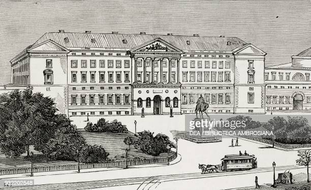 View of the Christiansborg Palace before the fire of 1884 Copenhagen Denmark illustration from the magazine The Graphic volume XXX no 777 October 18...