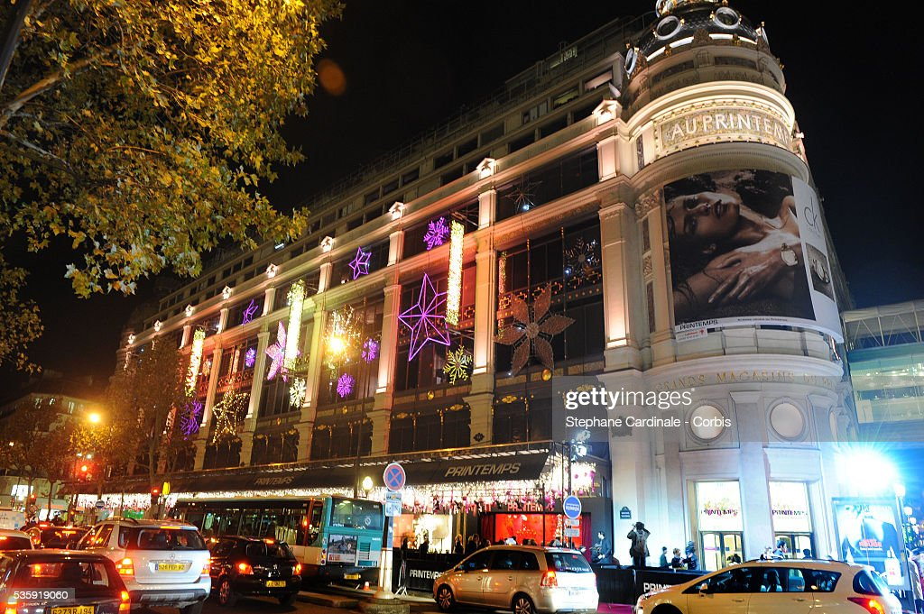 View of the Christmas Illuminations at the Printemps Store in Paris.
