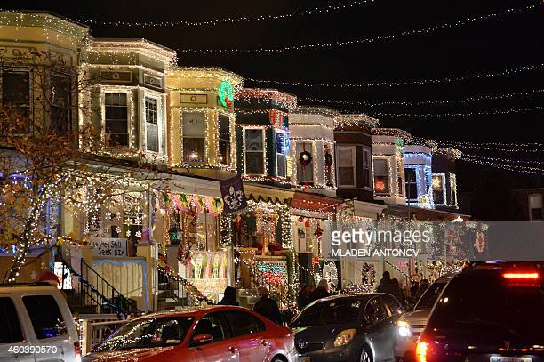 View of the Christmas lights on the 700 block of 34th Street in the Hampden community of Baltimore, Maryland on December 12, 2014. The display called...