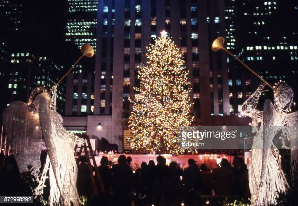 View of the christmas tree at Rockefeller Center in New York City