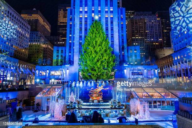 View of the Christmas Tree at Rockefeller Plaza on December 01, 2020 in New York City. Many holiday events have been canceled or adjusted with...