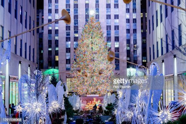 View of the Christmas tree at Rockefeller Plaza on December 15, 2020 in New York City. Many holiday events have been canceled or adjusted with...