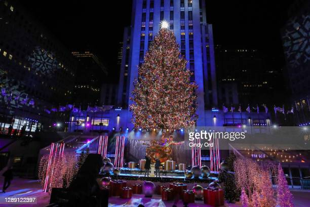 View of the Christmas Tree during the 88th Annual Rockefeller Center Christmas Tree Lighting Ceremony at Rockefeller Center on December 02, 2020 in...