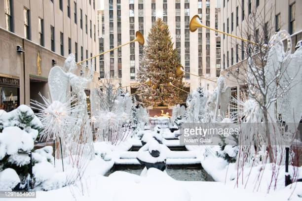 View of the Christmas tree in the Rockefeller Center on December 17, 2020 in New York City.