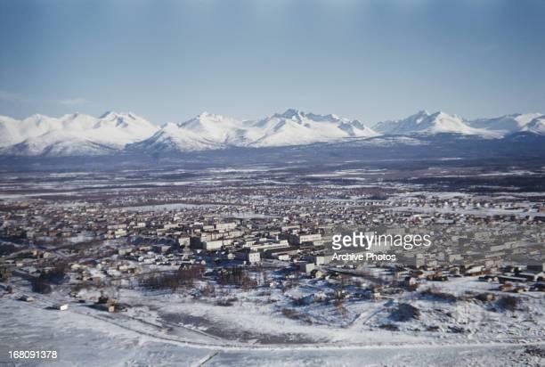 A view of the Chugach Mountain Range from Anchorage Alaska circa 1965