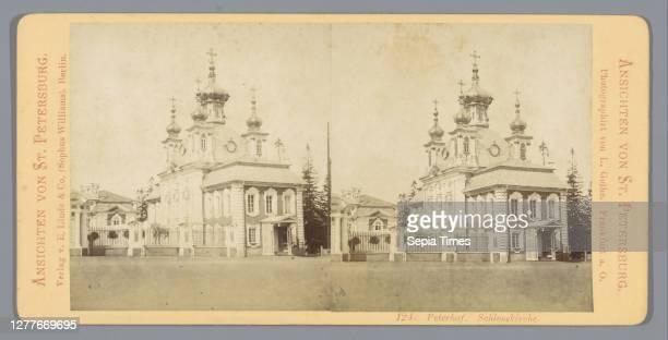 View of the church in Peterhof Peterhof. Schlosskirche , church , Peterhof, L. Gothe , Berlin, c. 1850 - c. 1880, cardboard, photographic paper,...