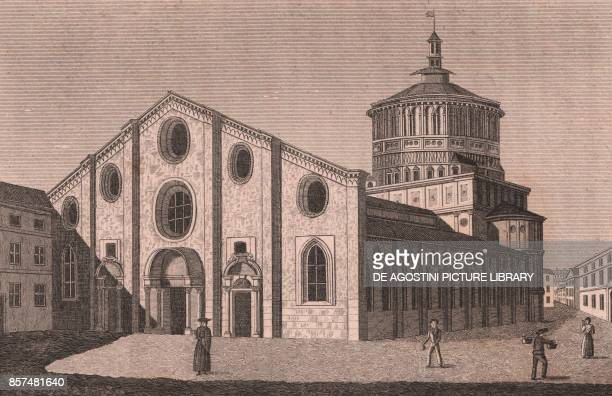 View of the Church of Santa Maria delle Grazie, Milan, Lombardy, Italy, copper engraving, 15.5x11 cm, from Die Wundermappe oder sammtliche Kunst und...