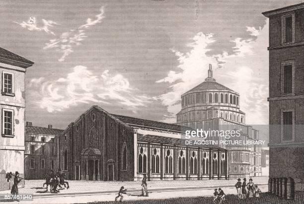 View of the Church of Santa Maria delle Grazie Milan Lombardy Italy steel engraving from L'Italia la Sicilia le isole Eolie l'isola d'Elba la...