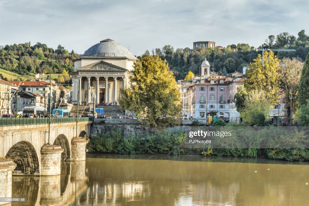 View of the Church of the Great Mother of God and with the district of Borgo Po from Piazza Vittorio Veneto - Turin : Foto stock