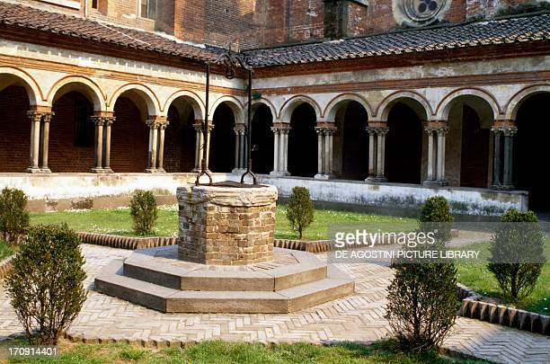 View of the Cistercian cloister of Saint Andrew Abbey Vercelli Piedmont Italy