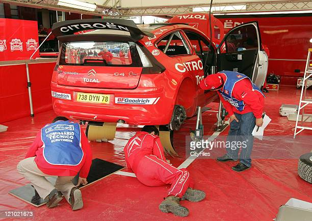 View of the Citroen team during technical verifications before the 2007 World Rally Championship at the Estadio Algarve in Loule, Portugal on March...