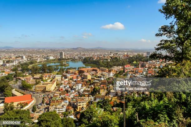 view of the city and anosy lake of antananarivo - antananarivo stock photos and pictures