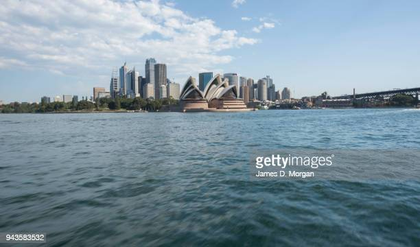 A view of the city and of the Opera House travelling on a Sydney ferry on April 9 2018 in Sydney Australia Sydney has been experiencing unseasonably...